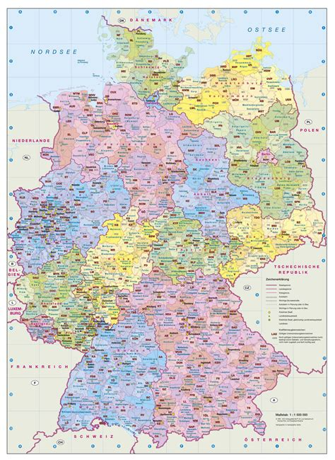 deutsche mappe kfz kennzeichenkarte deutschland