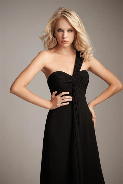 One shoulder black bridesmaid dresses for spontaneously aristocratic