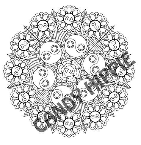 yin yang mandala coloring pages yin yang bouquet yin yang mandala coloring page by candy