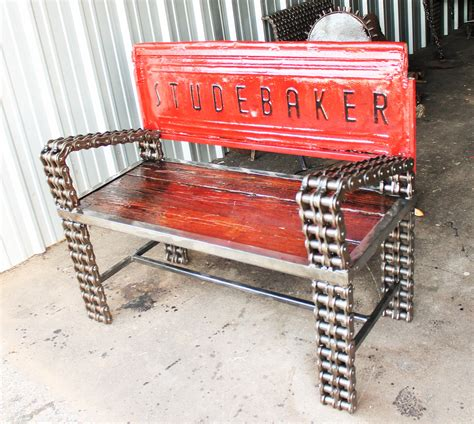 studebaker tailgate bench made with chain custom welded