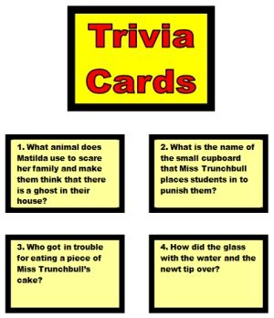 trivia card template board book report project templates worksheets