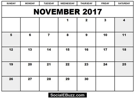 Calendar 2017 Pdf In November 2017 Calendar Pdf Monthly Calendar Template