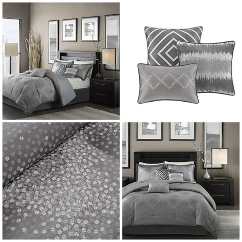contemporary king size bedding sets contemporary gray shimmer comforter set king size 7 silver accents bedding ebay