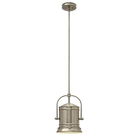 pendant light for sloped ceilings in brushed nickel