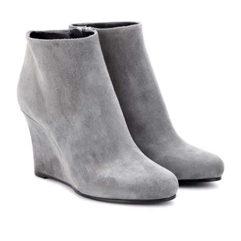 jil sander suede wedge ankle boots in gray lyst