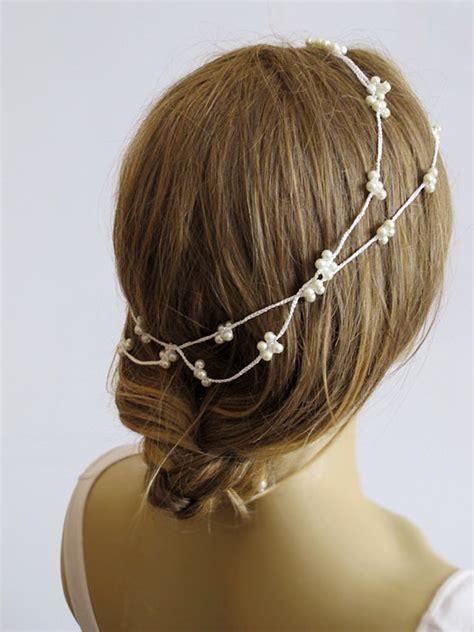 Handmade Bridal Hair Accessories - wedding crochet pearl headband bridal hairband pearl