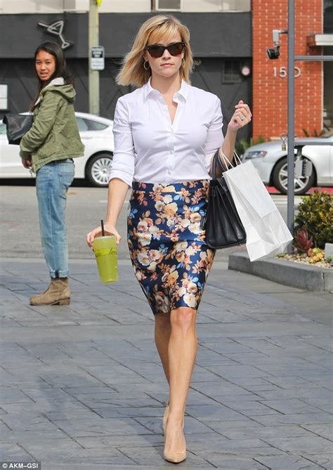 Blue Flower Blouse Point One reese witherspoon is dressed to impress in floral skirt