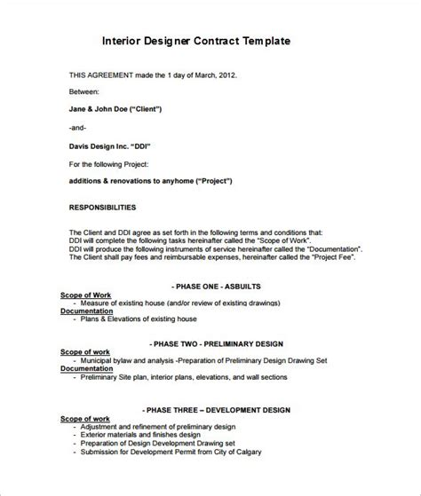 6 Interior Designer Contract Templates Free Word Pdf Documents Download Free Premium Artist Terms Of Service Template