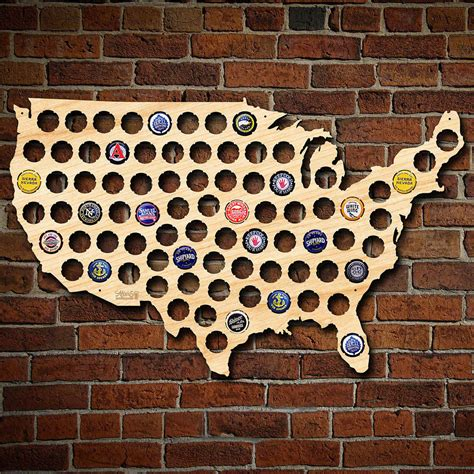 Cave Wall Decor by Cap Map Of Usa Birch Finish Cave Wall
