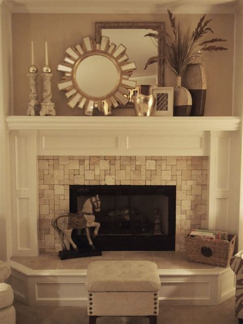 mantle decor stone tiled fireplace fireplace pinterest fireplaces
