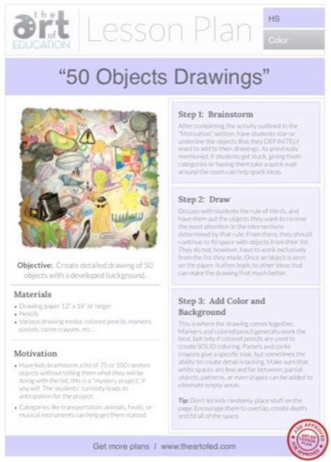 doodle lesson plan 50 objects drawings free lesson plan the of ed