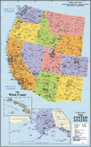 west coast wall map maps