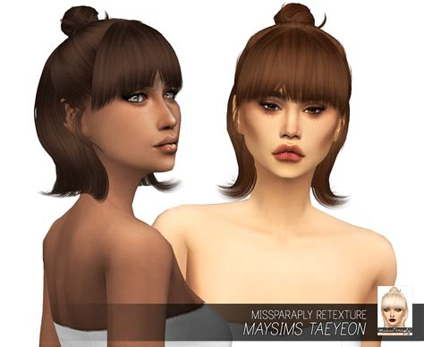 sims 4 custom content hairstyles sims 4 hairs miss paraply maysims taeyeon hair retextured