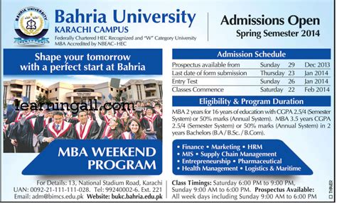 Weekend Mba Programs In Karachi by Mba Weekend Program In Karachi Bahria