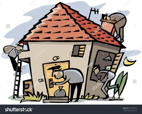 how to break into house cartoon scene 4 thieves break into stock vector 103569734 shutterstock