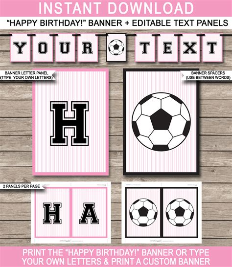 Girls Soccer Party Banner Template Happy Birthday Pennant Banner Soccer Banner Template