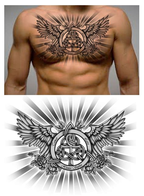 chest piece tattoos designs family knot with names and ankh symbol in it