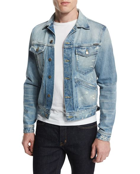 Mens Light Wash Denim Jacket by Tom Ford Western Style Light Wash Painted Denim Jacket In