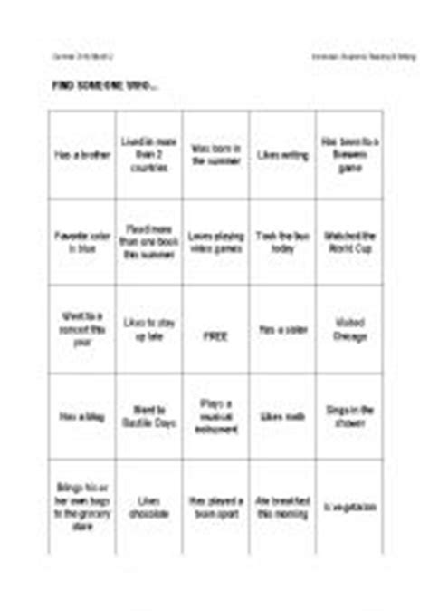 introduction bingo template teaching worksheets bingo