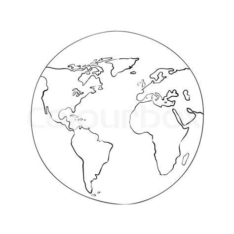 pattern simple glob sketch globe world map black on white background vector