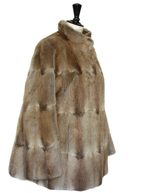 louise vintage rabbit fur brown coat jacket size 38