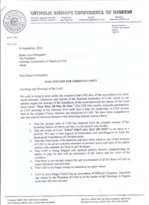 Church Membership Withdrawal Letter Sle Catholic Church Of Nigeria Withdraws From The Christian Association Of Nigeria