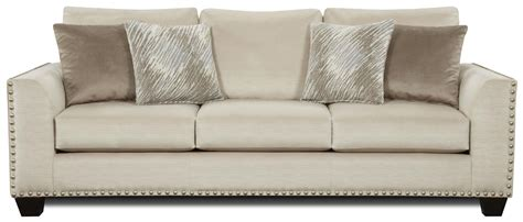 fusion upholstery fusion furniture 1460 sofa with flared arms and nailhead