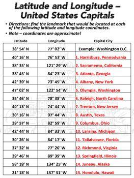 finding latitude and longitude worksheet latitude and longitude worksheet u s capitals tpt