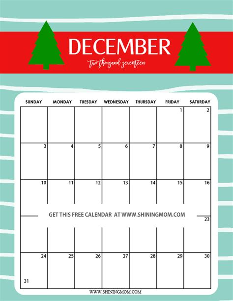 December 2017 Printable Calendar Calendar 2018 Calendar Template December 2017