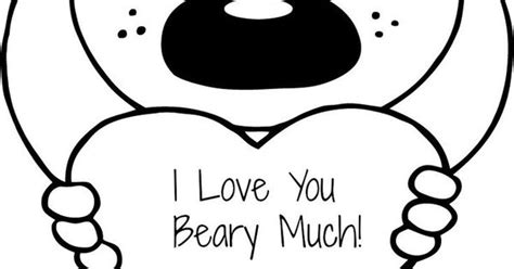 i you beary much card template free s quot i you beary much quot coloring page