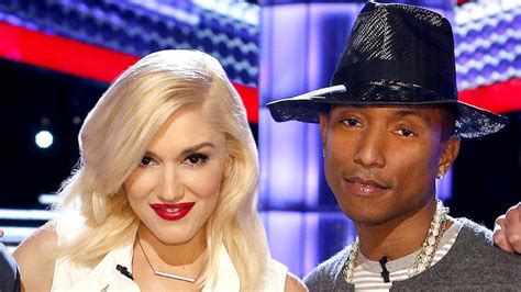 gwen stefani and pharrell williams pose with their fellow gwen stefani pharrell williams make their quot voice quot debut