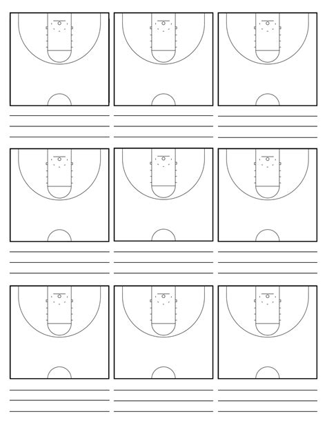 best photos of basketball court template in word half