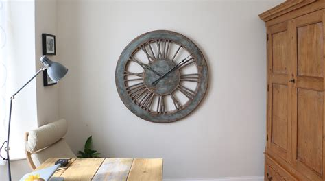 40 quot rustic grey skeleton numeral wall clock