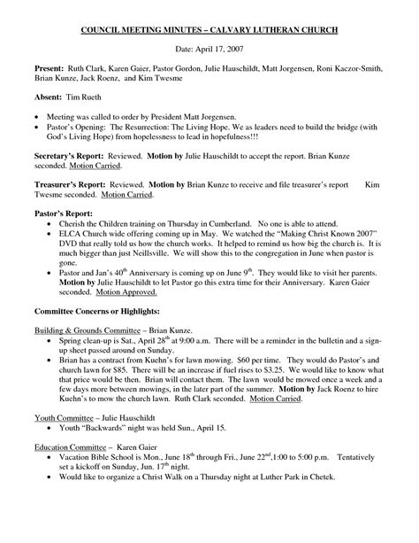 church minutes template best photos of church minutes exle church meeting