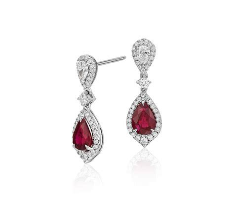 Ruby and Diamond Drop Earrings in 18k White Gold (6x4mm