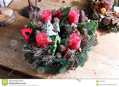 Handmade Advent Wreath - beautiful advent wreath stock photos image
