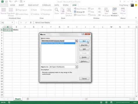 how to run macros in excel using vba lynda com tutorial how to run macros macro in excel 2013 dummies