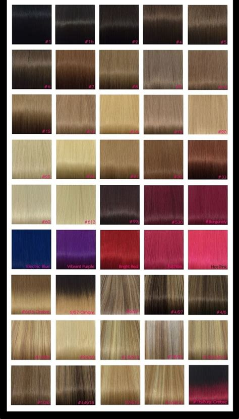 color chart for hair remy hair extensions colour chart