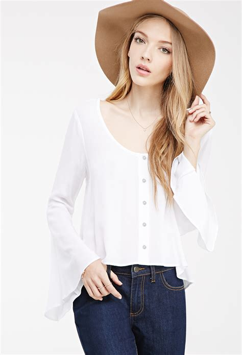 Forever21 Batik Blouse 1 lyst forever 21 buttoned bell sleeve blouse you ve been added to the waitlist in white