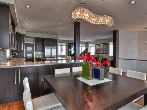 hgtv designer portfolio kitchens dining room with curved chandelier hgtv