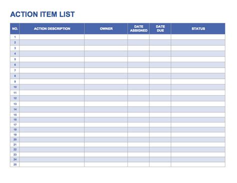 tracking action items template pictures to pin on