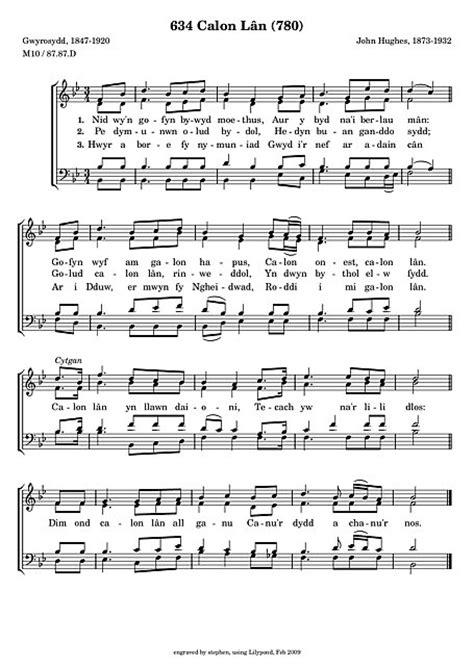 Calon Lân SATB - Noten - Cantorion, Freie Noten