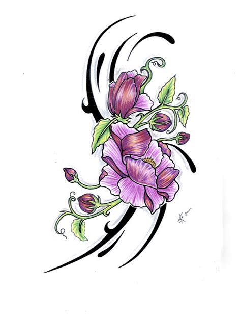 purple flowers tattoos designs flower galery design drawing