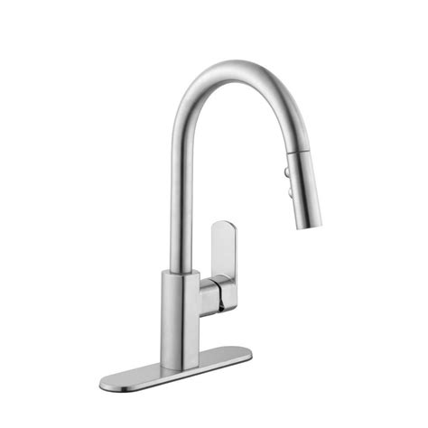 pull down kitchen faucets stainless steel schon 7500 series single handle pull down sprayer kitchen