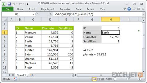 excel formula vlookup with numbers and text exceljet