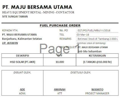 bagaimana membuat invoice contoh form pre order po solar mas yuli