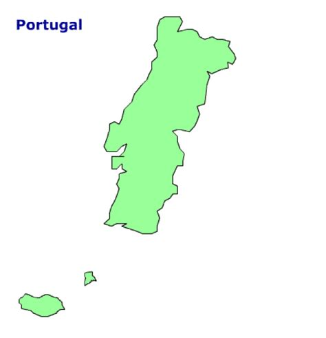 Portugal Map Outline by Map Of Portugal Terrain Area And Outline Maps Of Portugal Countryreports