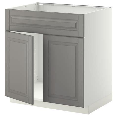 metod base cabinet f sink w 2 doors front white bodbyn