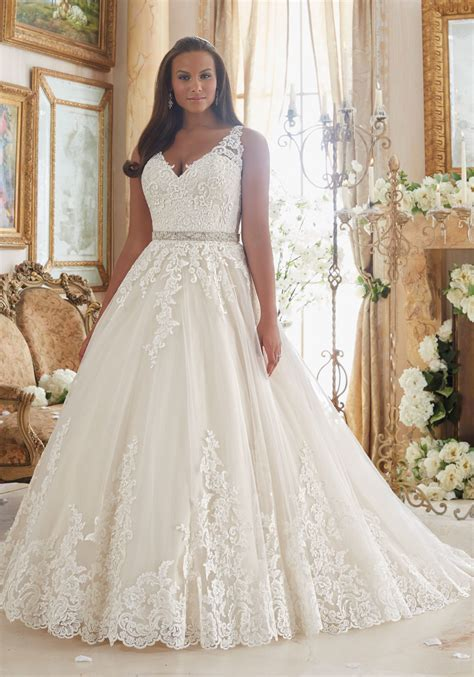Lace on Tulle Ball Gown Plus Size Wedding Dress   Style