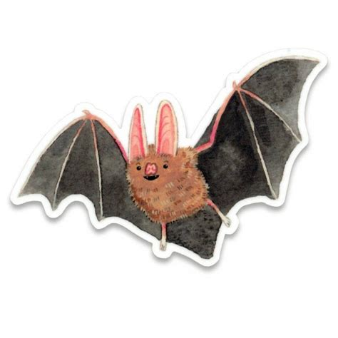 happy bat illustration sticker